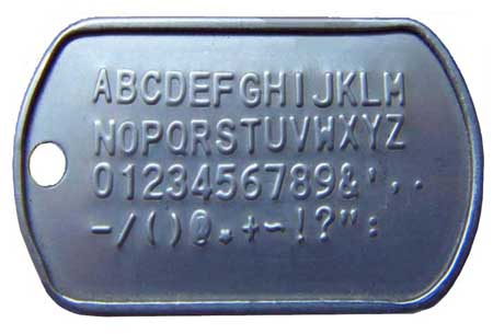 Dog tag embossing samples