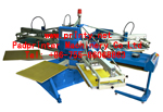 Automatic 4~6 colour 8 station rotary t-shirt silk screen printer | Fully auto 4~8 color 10 station rotary screen printing machine